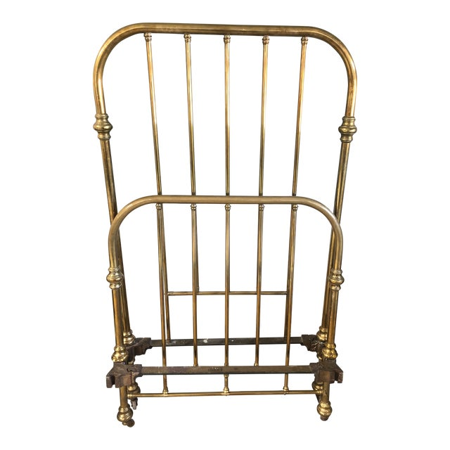 Antique Brass Twin Bed Foot Board and Head Board For Sale