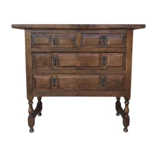 19th Century Catalan Spanish Walnut Chest of Four Drawers For Sale