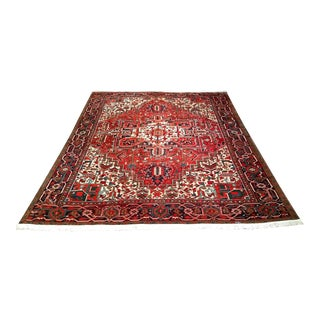 1940s Vintage Persian Heriz Rug - 9′ × 11′4″ For Sale