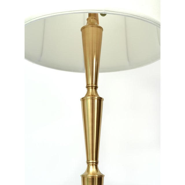 Metal Mid Century Modern Solid Brass Tall Floor Lamp For Sale - Image 7 of 12