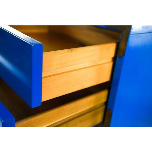 Mid Century Campaign Style Blue Tall Chests of Drawers-a Pair For Sale In Charleston - Image 6 of 13