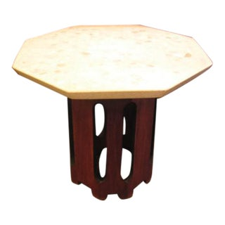 1960s Octagonal Dark Walnut and Terrazzo Occasional Table For Sale