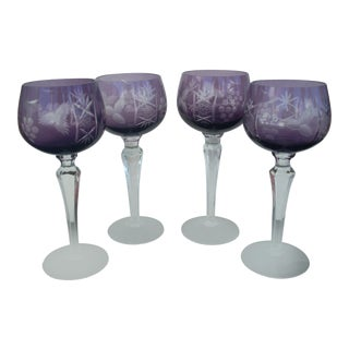 Bohemian Amethyst Wine Glasses -Set of 4 For Sale