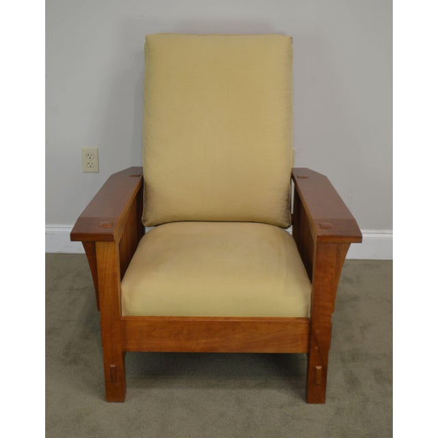 Stickley Stickley Mission Collection Cherry Bustle Back Spindle Morris Chair W/ Ottoman For Sale - Image 4 of 13
