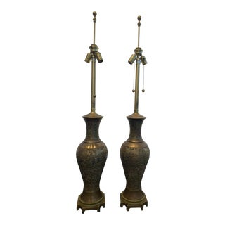 Bronze Marbro Lamps Enamel- a Pair For Sale