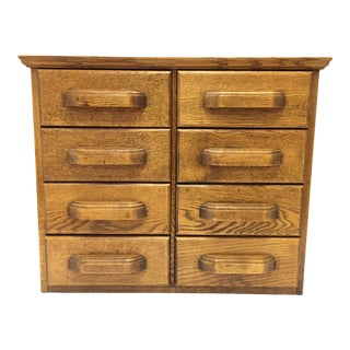 Antique Oak 8 Drawer File Cabinet With Arch Office Filing Clip