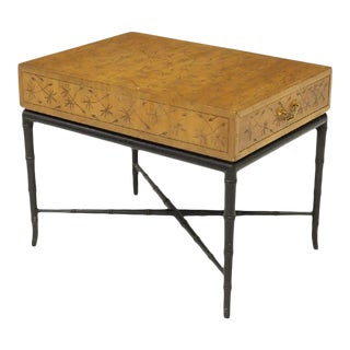 Kittinger Thistle Incised Faux Bamboo Side Table For Sale