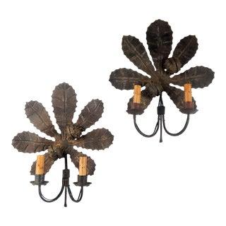 Horse Chestnut Motif Electric Sconces For Sale