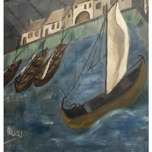 Original Framed Boats Oil Painting - Image 3 of 4
