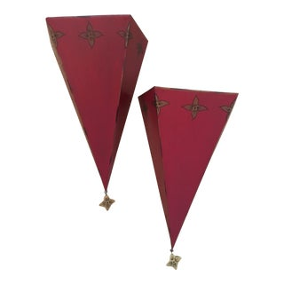 Dark Red Metal With Gold Designs Tole Wall Brackets - a Pair For Sale