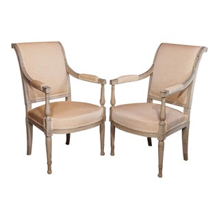 19th Century Painted Directoire Style Fauteuils - Pair For Sale
