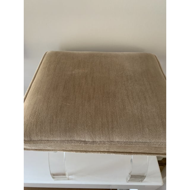 Textile 1970s Vintage Lucite X-Base Stool For Sale - Image 7 of 13