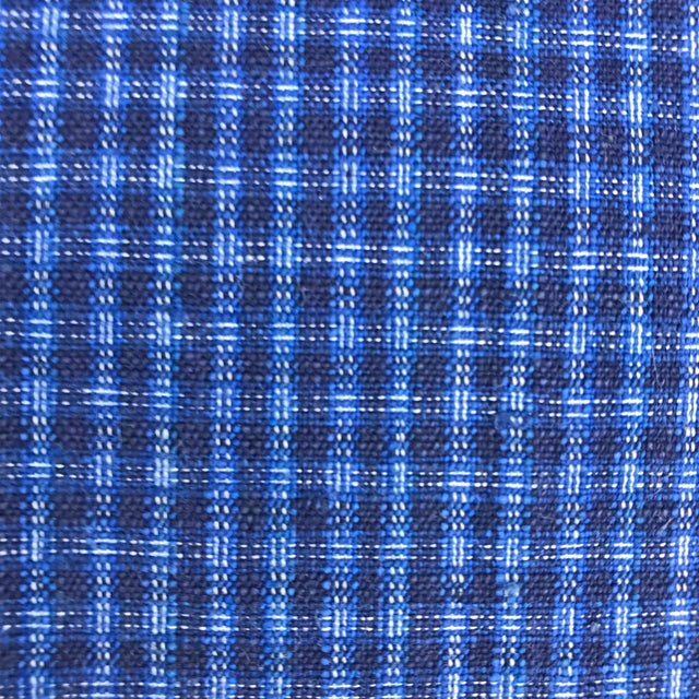 Blue Pair of Vintage Chinese Plaid Cotton Pillows For Sale - Image 8 of 10
