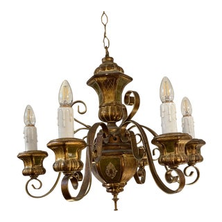 Mid 20th Century Florentine Gold + Green Turned Ceramic Chandelier For Sale