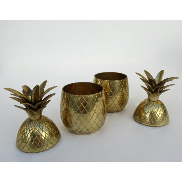 Vintage Brass Lidded Pineapple Containers Dual Candle Holders - a Pair For Sale - Image 9 of 12
