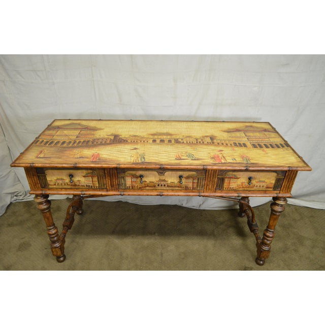 Chinese Hand Painted Large Faux Bamboo Hall Table or Sideboard For Sale In Philadelphia - Image 6 of 11