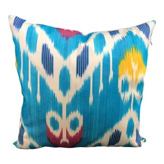 Handmade Blue Ikat Pillow Cover For Sale