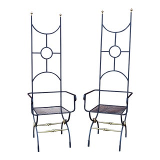 Mid-20th Century Hollywood Regency Wrought Iron Garden Chairs - a Pair