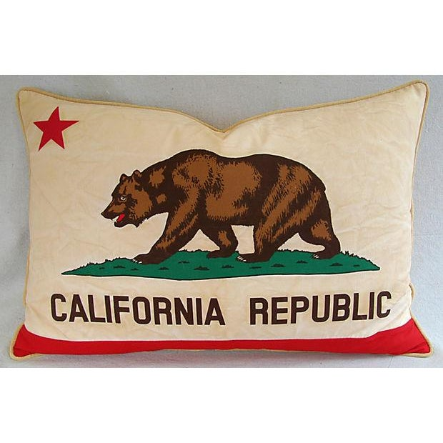 Large Custom Tailored California Republic State Grizzly Bear Flag Pillow Was Created From