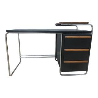 Wolfgang Hoffman Howell Art Deco Machine Age Tubular Chrome and Wood Writing Desk For Sale