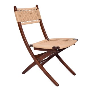 1960s Vintage Hans J. Wegner Style Clever Folding Chair For Sale