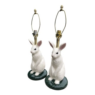 Vintage Porcelain Hand Painted Bunny Lamps- a Pair