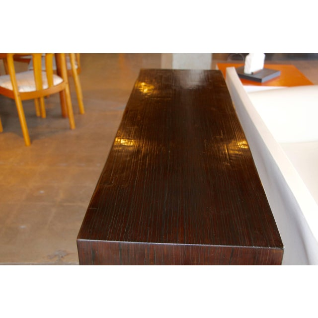 Brown Bamboo Veneered Grained Brown Console For Sale - Image 8 of 10