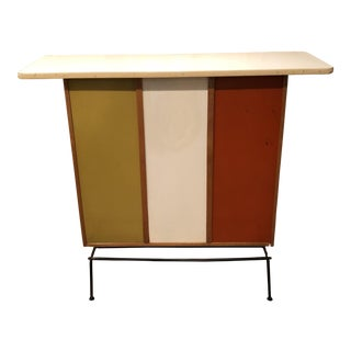 Mid-Century Color Block Wood Dry Bar For Sale