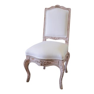 Antique French Vanity Chair Painted in a Pale Pink and White Belgian Linen