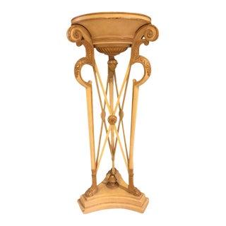 Hollywood Regency Style Carved Ivory & Gilt Pedestal For Sale