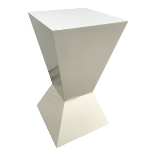 Space Age Angular White Fiberglass Pedestal Table For Sale