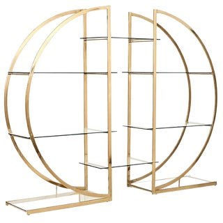 Milo Baughman Circular Brass Pair of Etageres For Sale