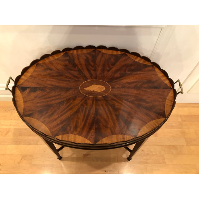 Mid-Century Modern Baker Furniture Collector's Edition Scalloped Tray Table For Sale - Image 11 of 11