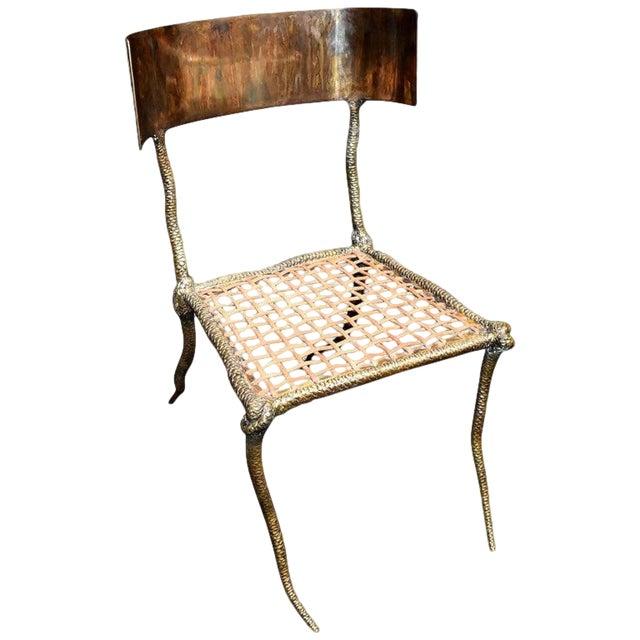 """Sculptural """"Snake"""" Design Brass Desk or Bedroom Chair For Sale"""