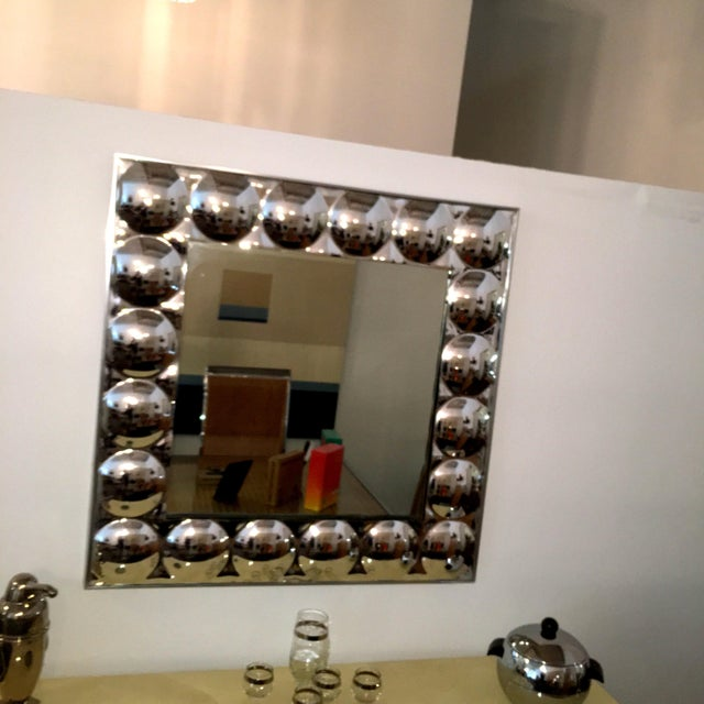 Signed Turner Mid Century Modern Silver Anodized Aluminum Molded Plastic Bubble Mirror - Image 7 of 9
