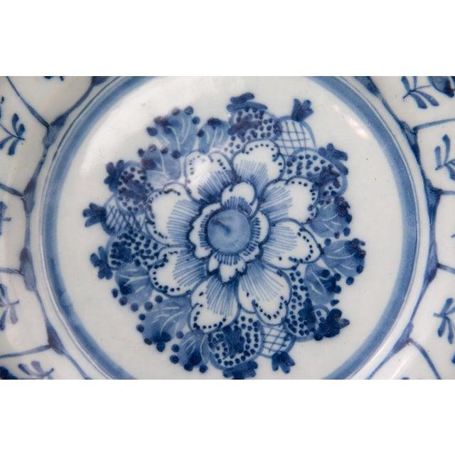 Cottage Antique 18th-Century Dutch Delft Floral Plate For Sale - Image 3 of 6