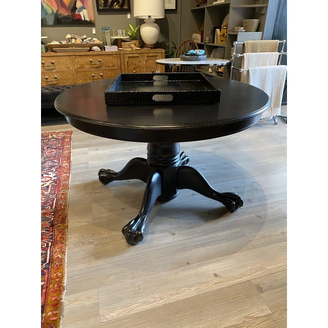 Contemporary Antique Black Round Oak Claw Foot Dining Table For Sale - Image 3 of 12
