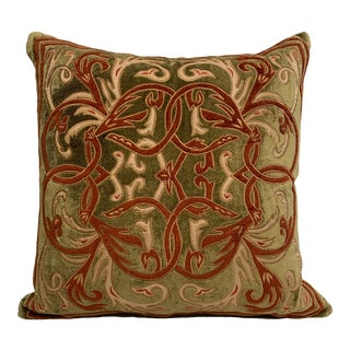 Florence Khaki Velvet Cushion Covers With Down and Feather Insert For Sale