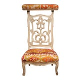 Image of 19th Century French Carved & Painted Prie-Dieu Prayer Chair With Antique Kilim For Sale