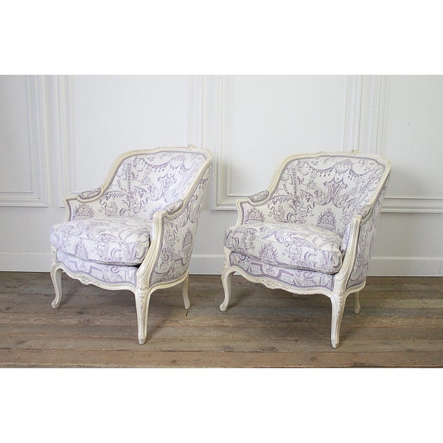 Vintage 20th Century Painted French Louis XV Style Bergere Chairs- A Pair For Sale - Image 4 of 13