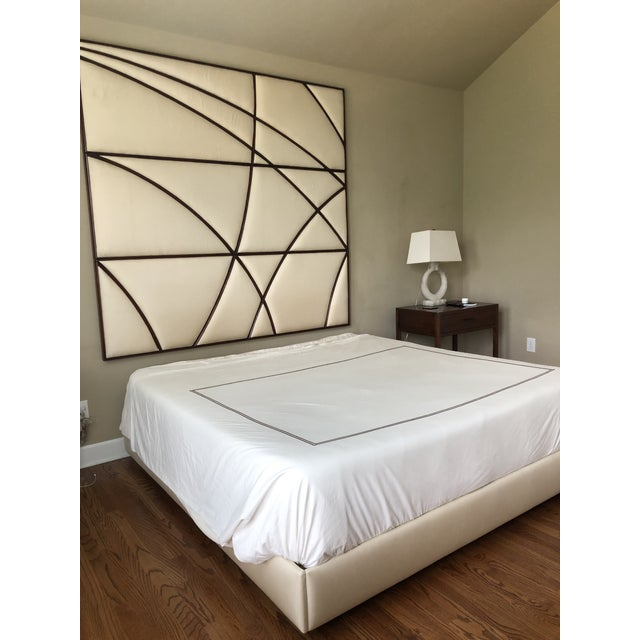 2000 - 2009 Contemporary Christopher Guy Headboard and Upholstered Bedframe in Silk Canvas - 2 Pieces For Sale - Image 5 of 7