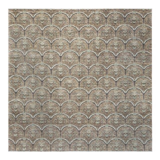 """Contemporary Hand Woven Ganzi Wool Rug - 10' X 10'3"""" For Sale"""