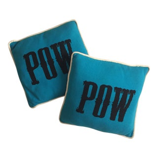 Contemporary Turquoise & Black Pillows - a Pair For Sale