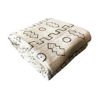 "Large Black & White Mud Cloth Textile Mali 82"" by 60"""