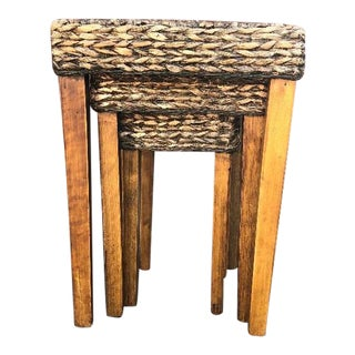 Vintage Rustic Wicker Nesting Tables - Set of 3 For Sale