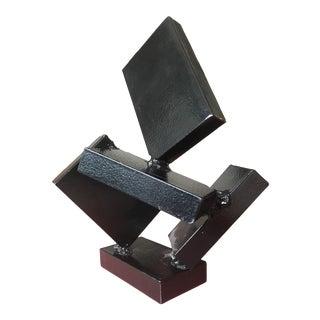 Vintage Modern Art Black Steel Abstract Sculpture For Sale