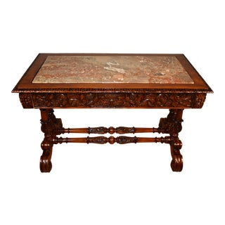 19th Century French Victorian Renaissance Oak Marble Top Writing Desk For Sale