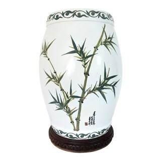 Vintage Porcelain Bamboo & Peony Traditional Chinese Drum Garden Stool / Side Table & Custom Pedestal For Sale