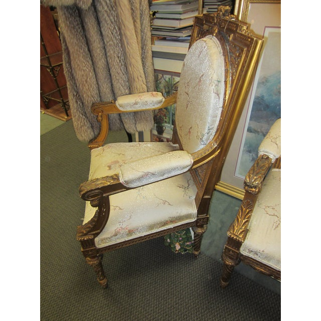 Antique French Giltwood Fauteuil Chairs - A Pair - Image 3 of 9