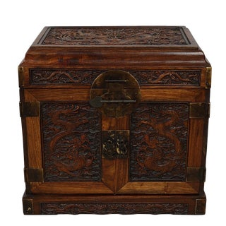 Antique Chinese Carved Rosewood Jewelry Box For Sale